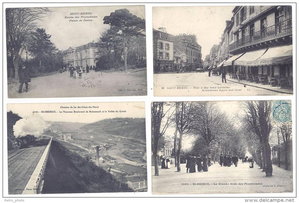 4 Cpa Saint-Brieuc - Palais Justice, Chemin De Fer, Place, Allées ((S.140)) - Saint-Brieuc