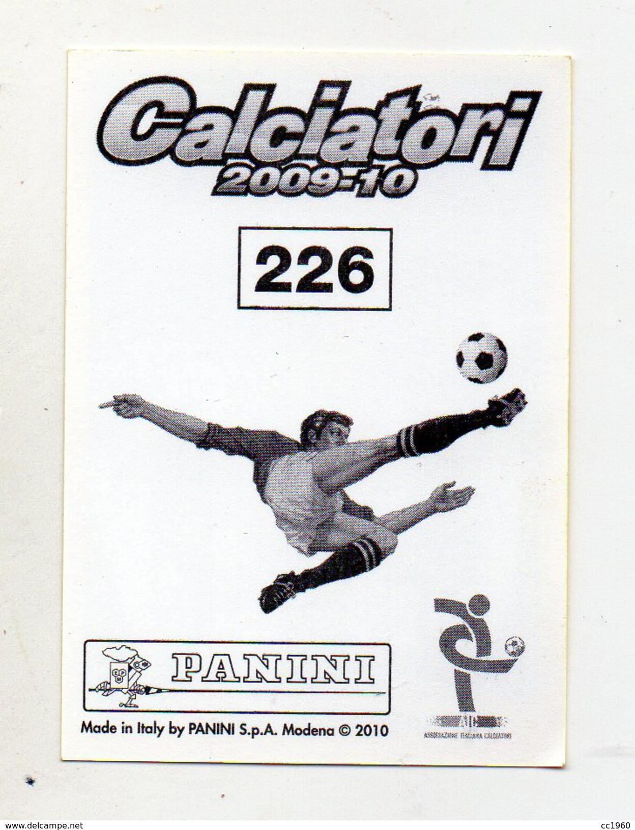 Calciatori 2009/2010 - Figurina Nr. 226 - JUVENTUS - JONATHAN ZEBINA - Edizione Panini - (FDC1208) - Panini
