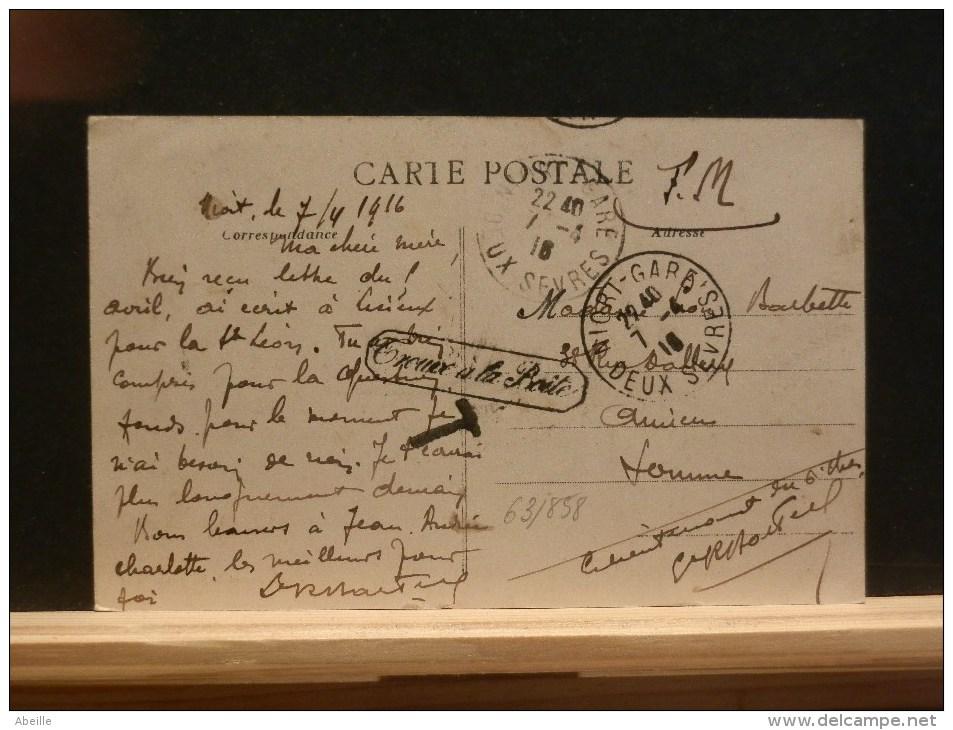 63/868   CP  F.M.  DE NIORT 1918  GRIFFE  TROUVER A LA BOITE - Marcofilie (Brieven)