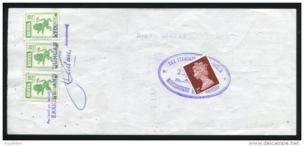 AUSTRALIA KENYA LION GB CHEQUE 1969 - Old Paper