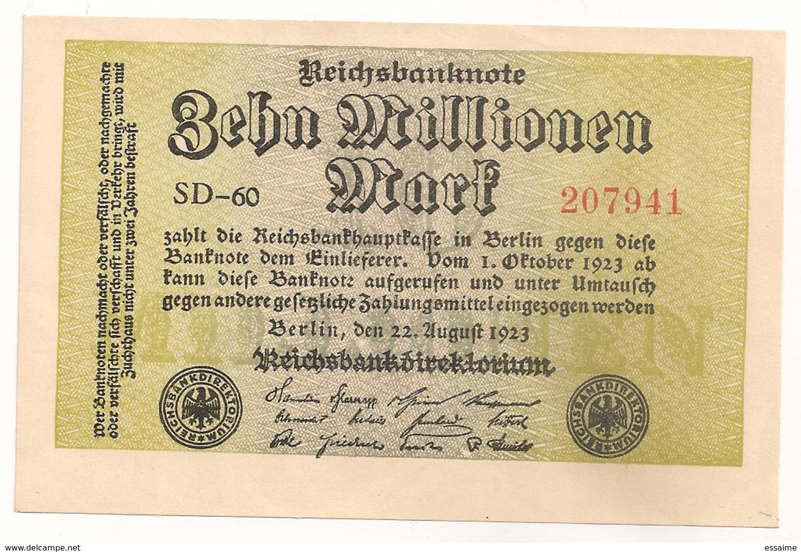 Allemagne. Reichsbanknote 10 Millions Mark. Octobre 1923 Neuf Mint - 10 Millionen Mark