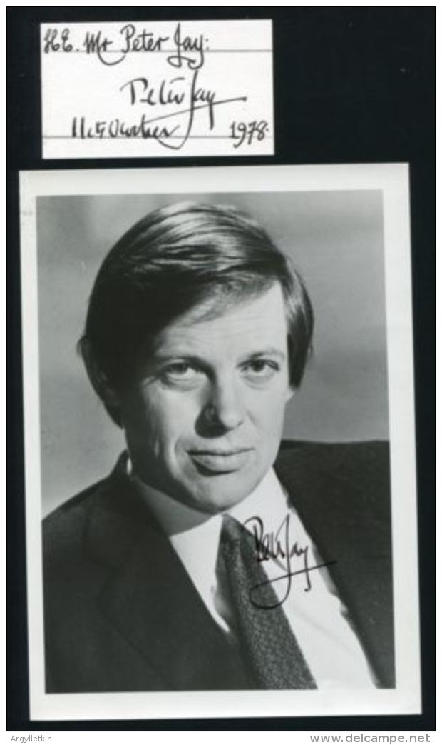 U.S.A. GB BRITISH AMBASSADOR SIR PETER JAY 1978 - Autographs