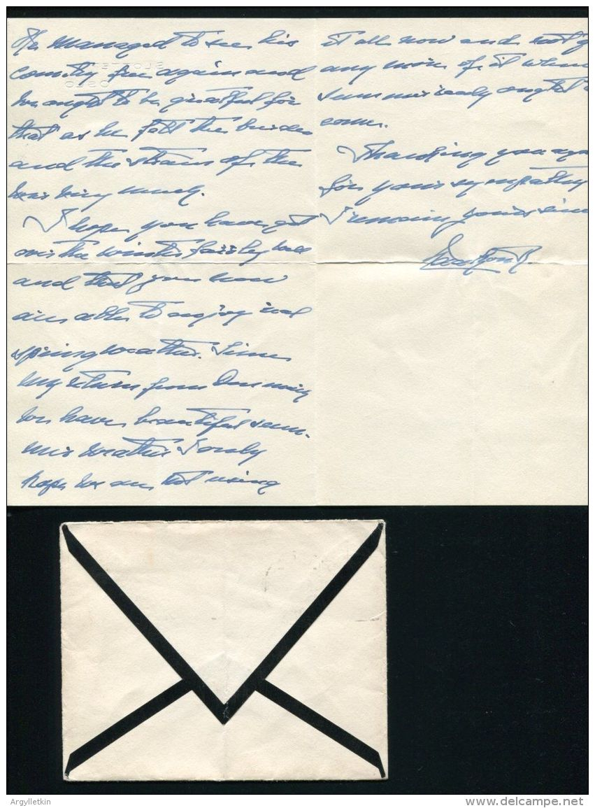 IMPORTANT KING HAAKON VII OF NORWAY  LETTER 1947 WWII SLOTTET - Other Collections