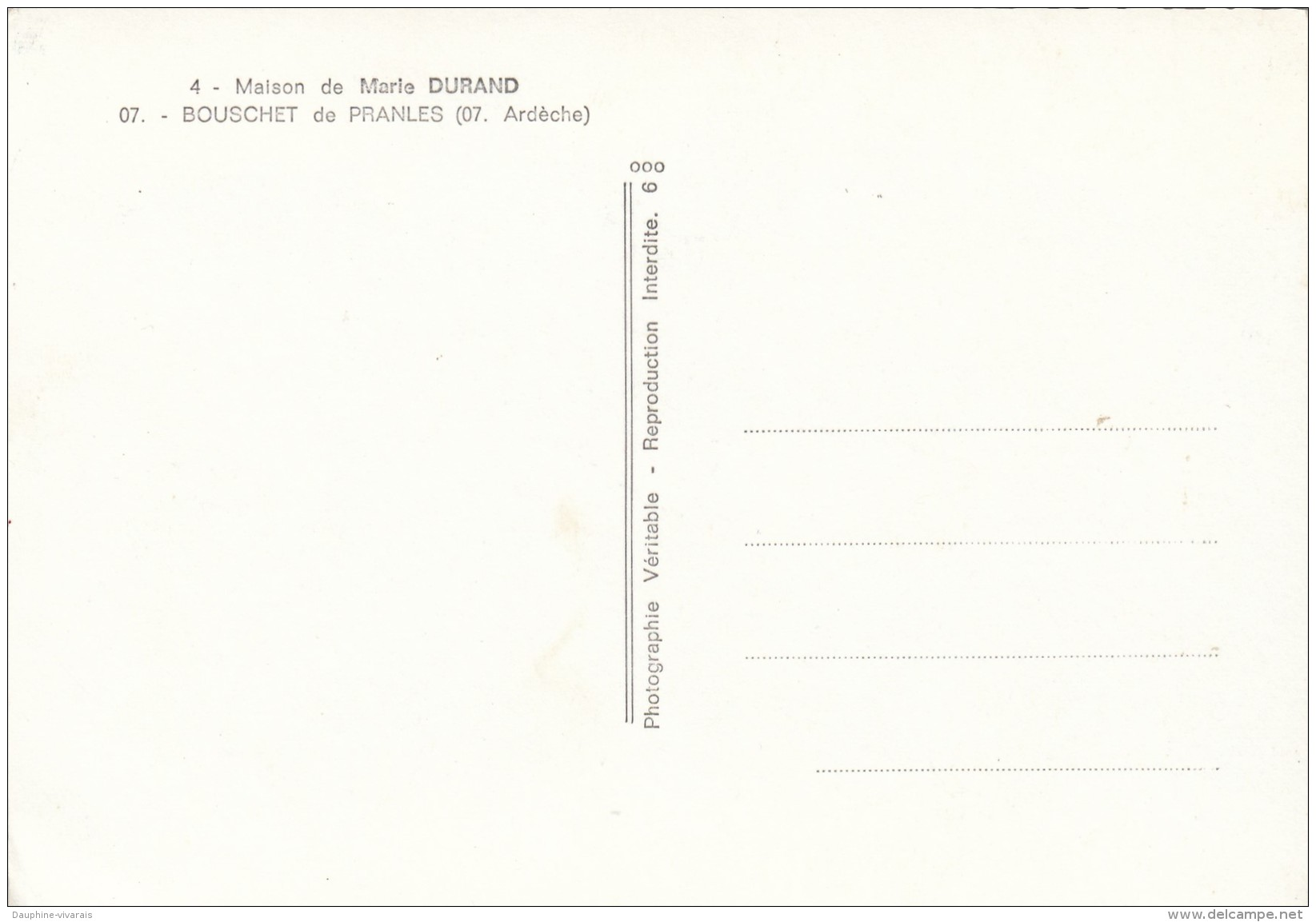 CP BOUCHET DE PRANLES  07 ARDECHE  MAISON DE MARIE DURAND - Andere Gemeenten