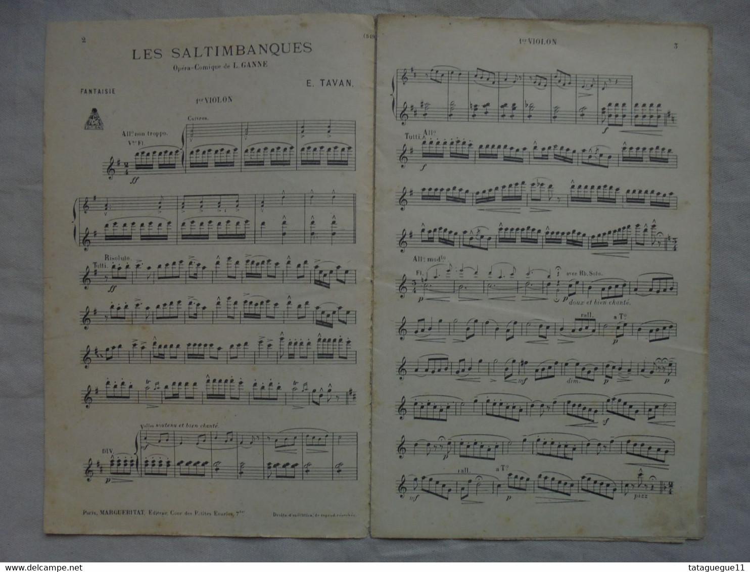 Ancienne Partition Fantaisie Sur Les Saltimbanques Opéra-Comique L. GANNE - Opéra