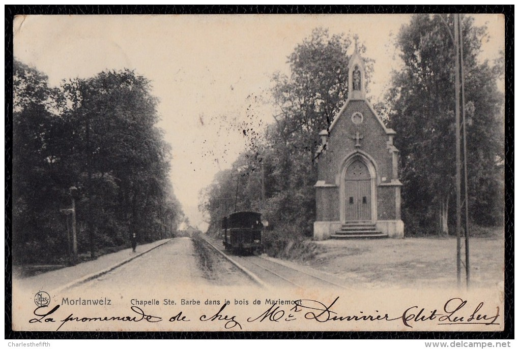 Morlanwelz - Chapelle Ste Barbe Dans Le Bois De Mariemont - 1905 - Avec Tram  - SIMPLE CERCLE MORLANWELZ S. Nr. 74 !! - Non Classés