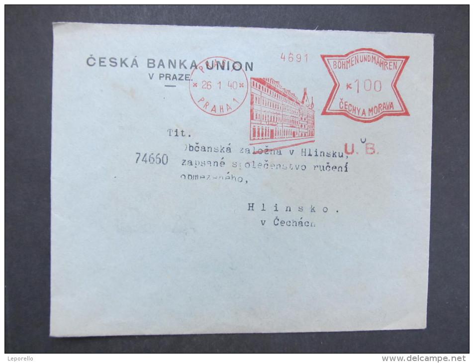 BRIEF Praha Ceska Banka Union 1940  Frankotype Freistempel Postfreistempel  /// R7519 - Böhmen Und Mähren