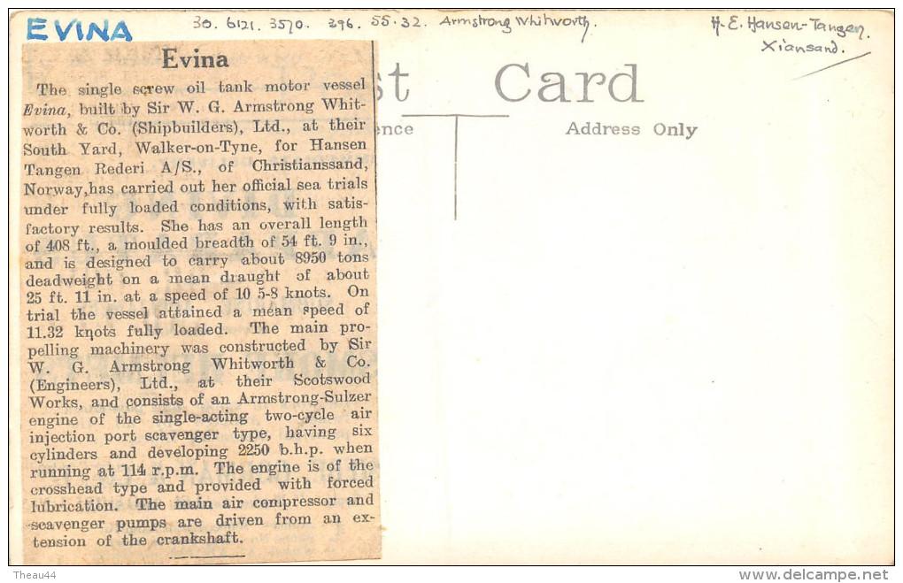 """¤¤  -   Carte-Photo Du Bateau De Commerce """" EVINA """"  -  Cargo   -  Voir Description   -  ¤¤ - Commerce"""