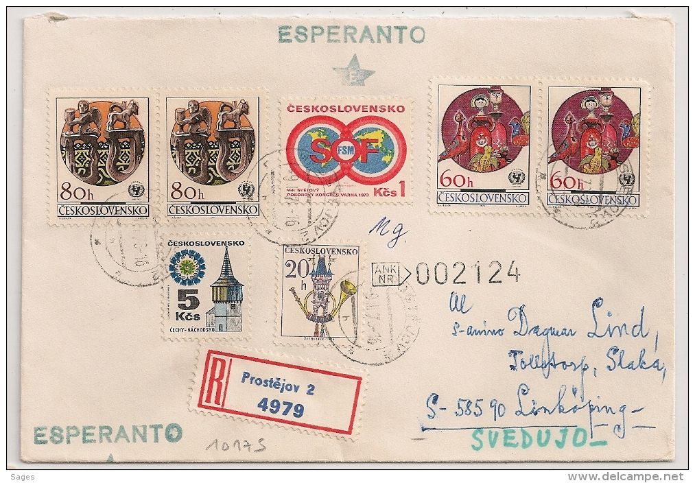 ESPERANTO COVER CESKOLOSVENSKO TCHECOLOVAQUIA TO SWEDEN. Lot 1 - Esperanto