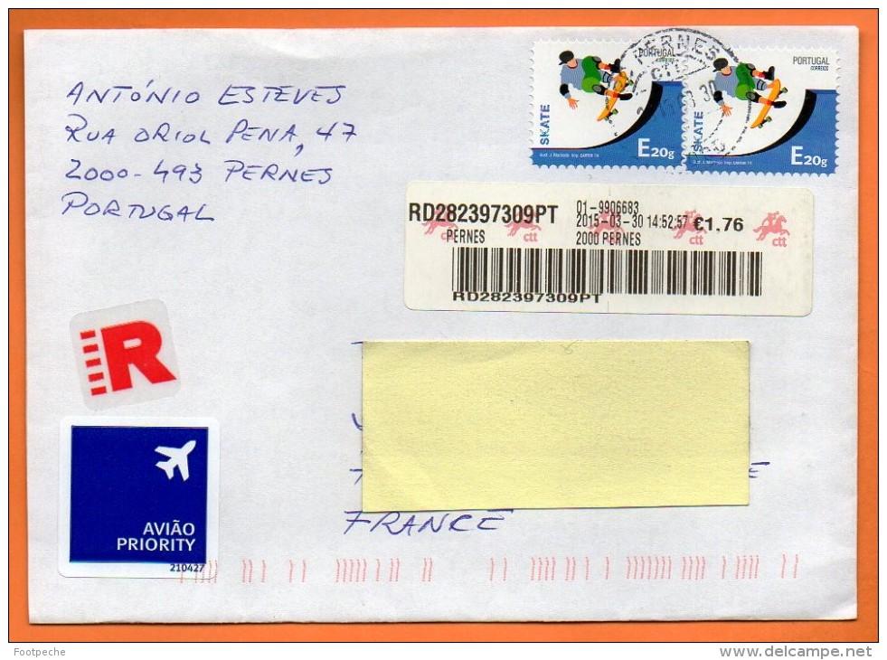 PORTUGAL Recommandé 2015    Lettre Entière   N° Q 357 - Skateboard