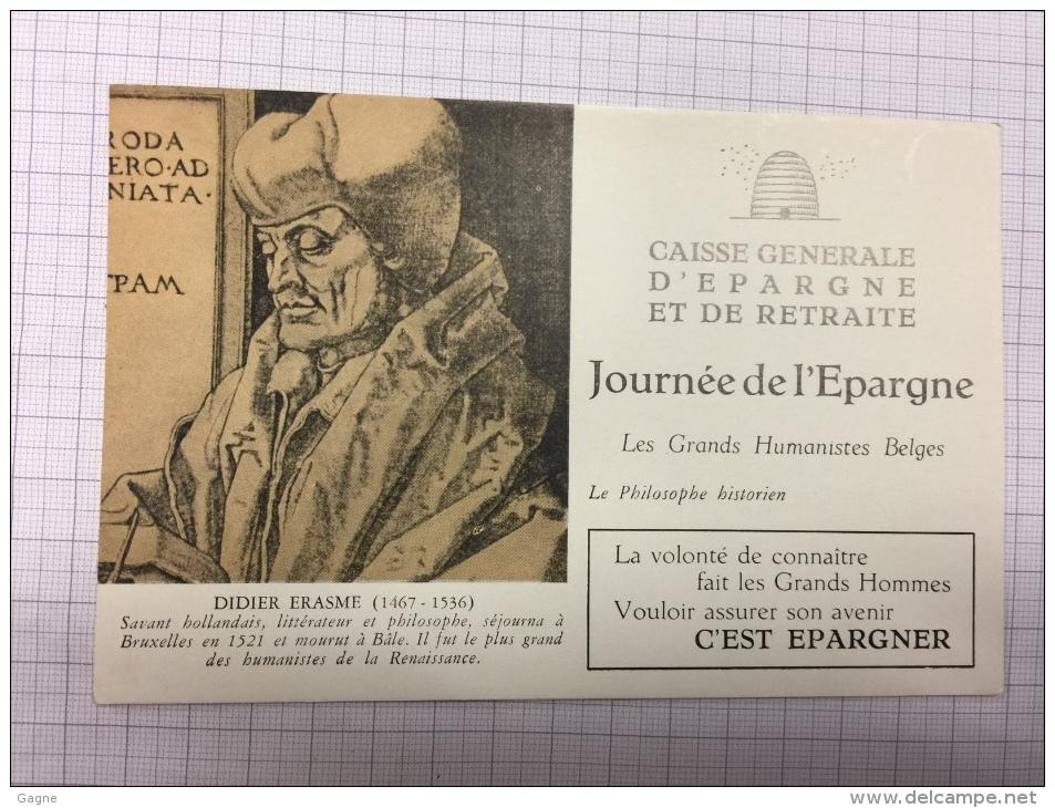 16W/1 - Caisse D´épargne Série Les Grands Humanistes Erasme - Buvards, Protège-cahiers Illustrés