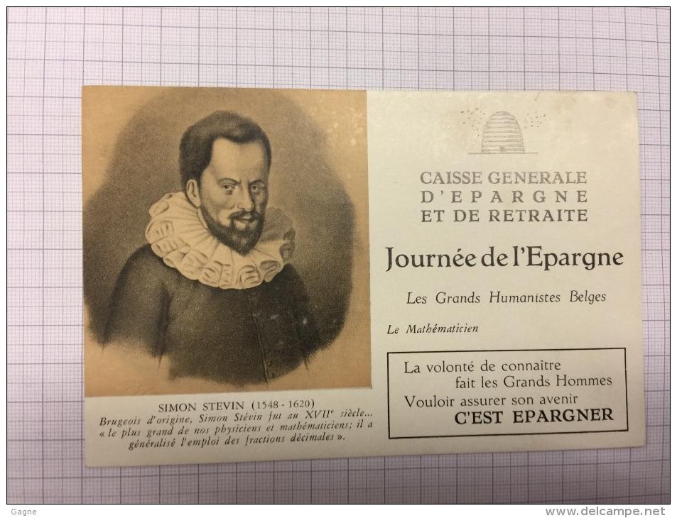 16W/1 - Caisse D´épargne Série Les Grands Humanistes Simon Stevin - Buvards, Protège-cahiers Illustrés