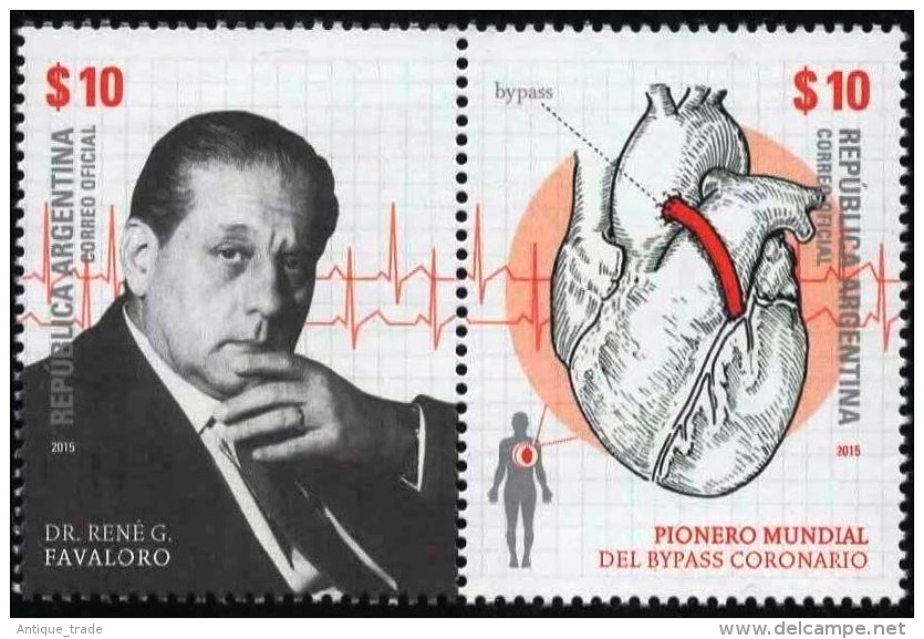 ! ARGENTINE / ARGENTINA: Dr. Rene Favaloro - Medicine / Coronary Bypass / Chirurgie Cardiaque (2015) MNH / Neufs *** - Argentina
