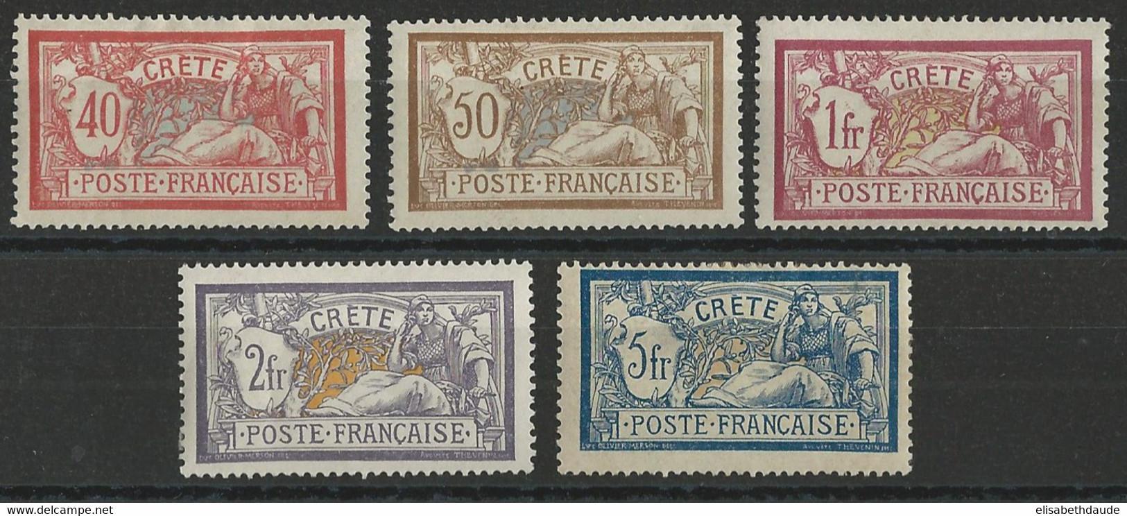 CRETE - YVERT N°11/15 * MH - COTE = 187 EUR. - CHARNIERES CORRECTES - MERSON - Unused Stamps