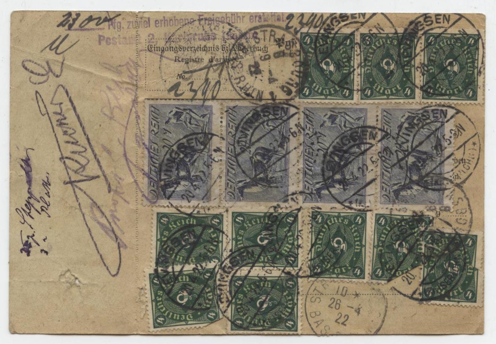 Evingsen 20.4.1922 Kr.Iserlohn Par Karlsruhe Bulletin D'expédition Paketkarte Pour Strasbourg - Germany