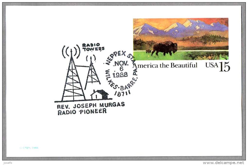 REV. JOSEPH MURGAS - RADIO PIONEER - RADIO TOWERS. Wilkes Barre PA 1988 - Telecom