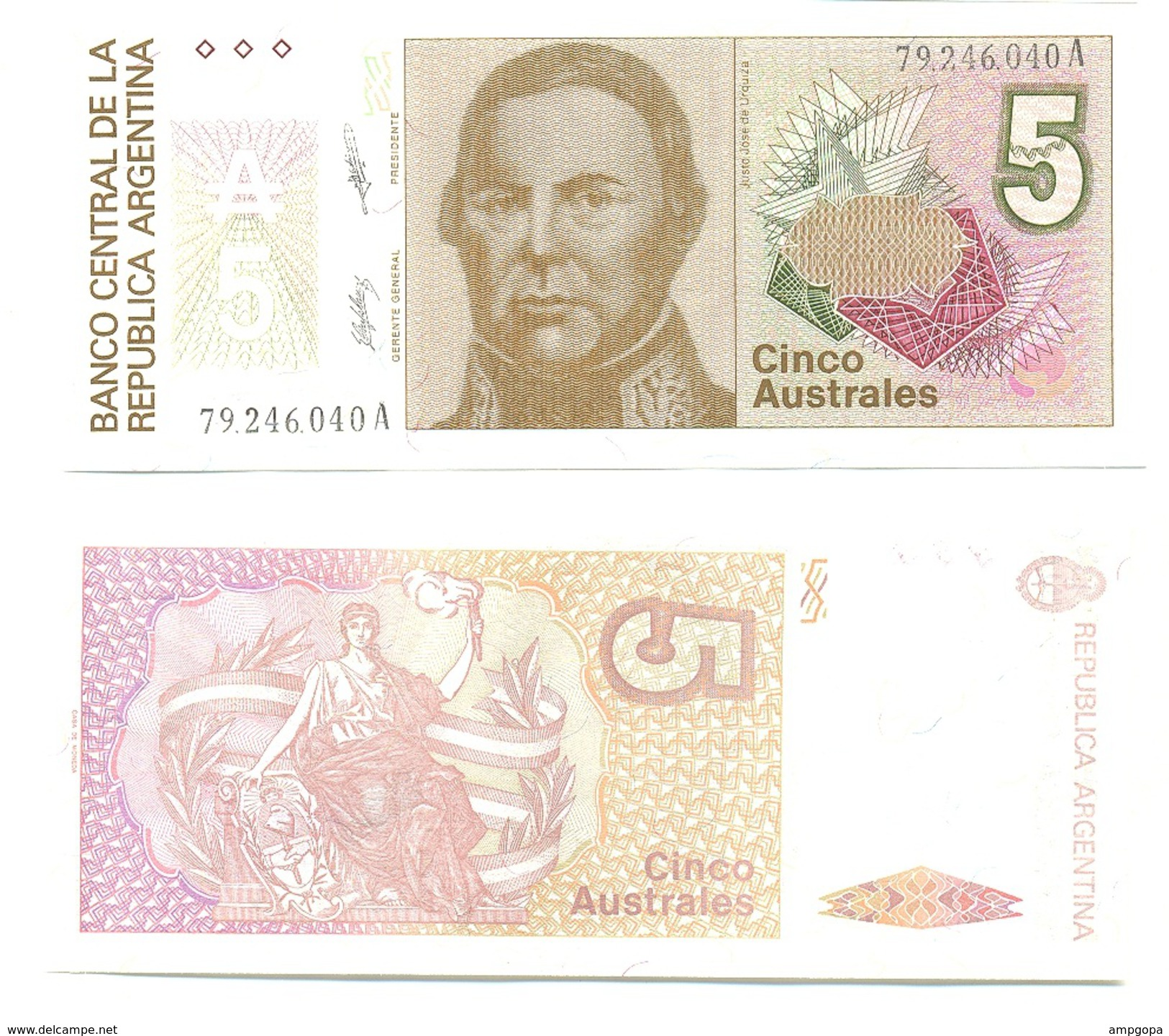 Argentina 5 Australes 1985-89 Pick 324.b UNC - Argentina