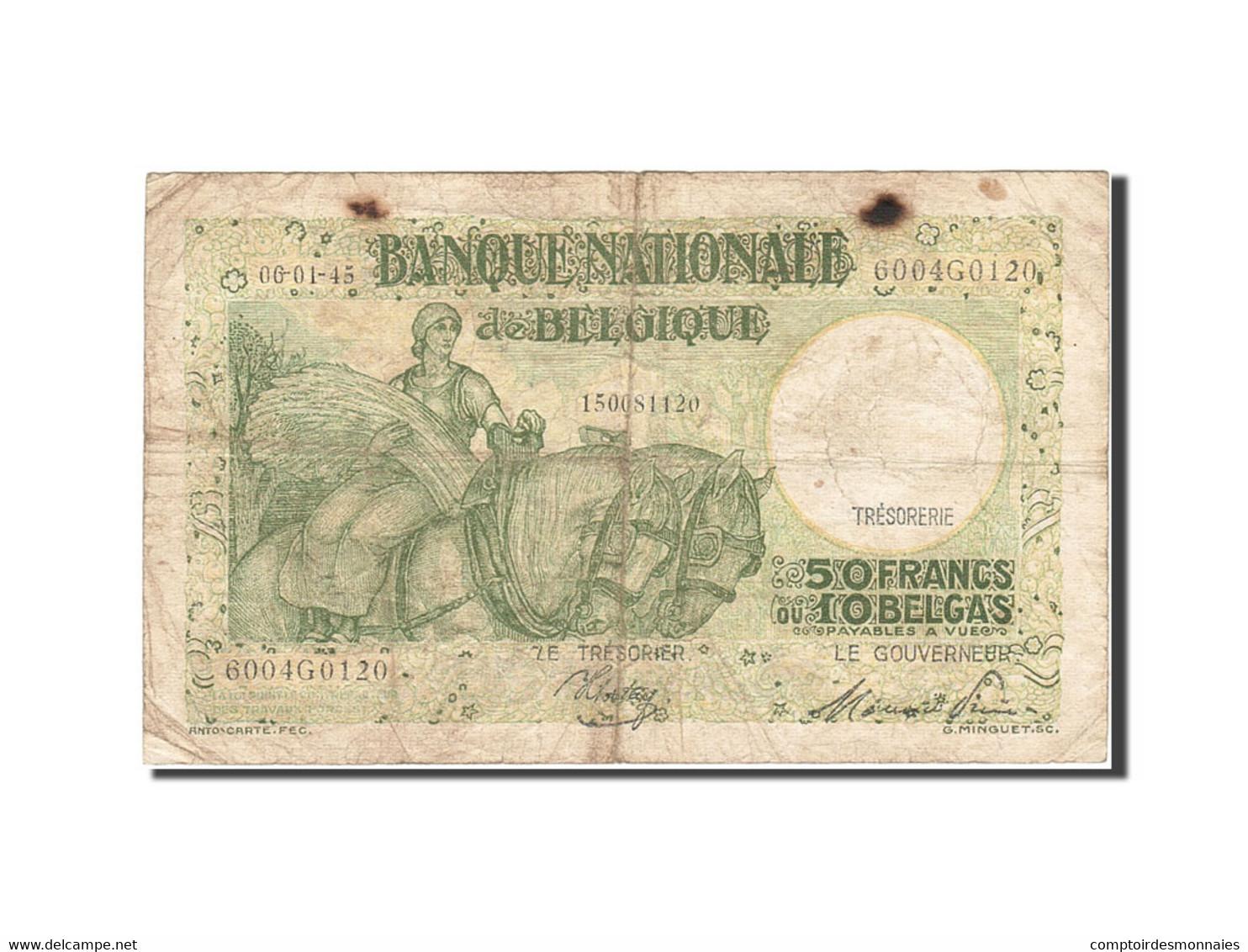 Belgique, 50 Francs-10 Belgas, 1933-1935, KM:106, 1945-01-06, TB - [ 6] Staatskas