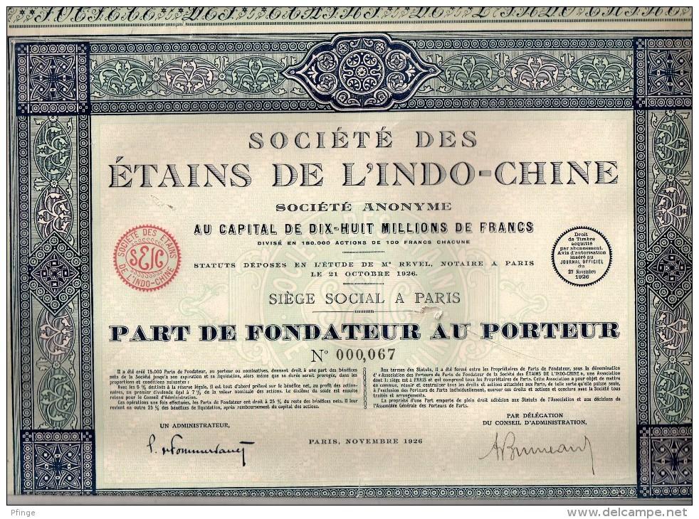 Société Des étains De L´Indo-Chine - Part De Fondateur Au Porteur - Asie