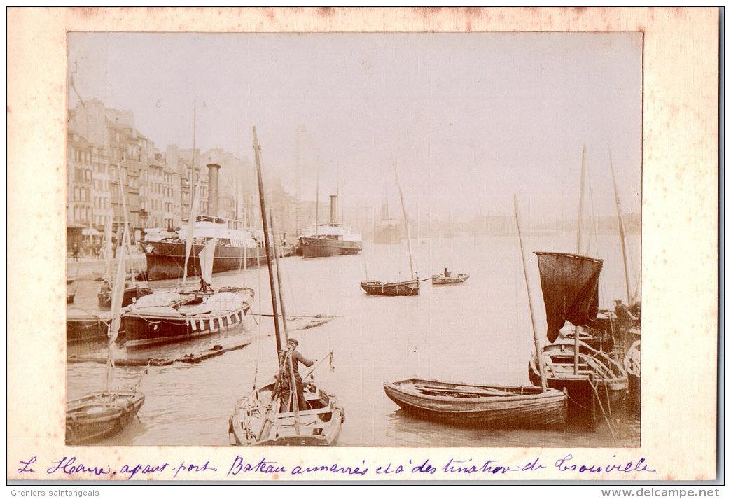 76 LE HAVRE - Bateaux Dans Le Port (Photographie Contrecollée Sur CPA) - Le Havre