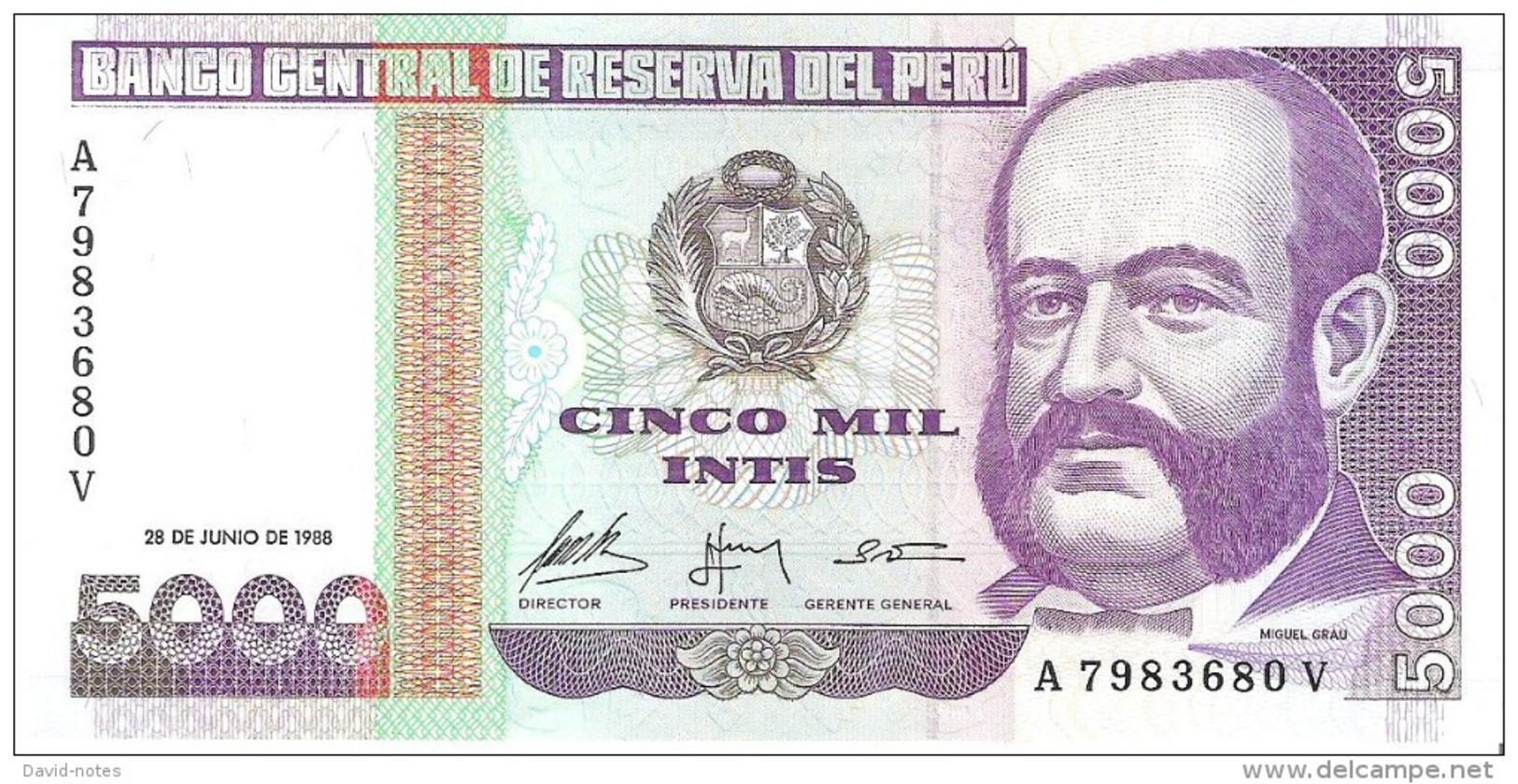 Peru - Pick 137 - 5000 Intis 1988 - Unc - Pérou