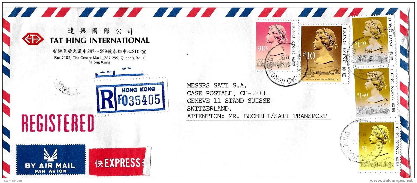 G 309 - Enveloppe Recommandée  Exprès Envoyée De Hong Kong En Suisse 1989 - Lettres & Documents
