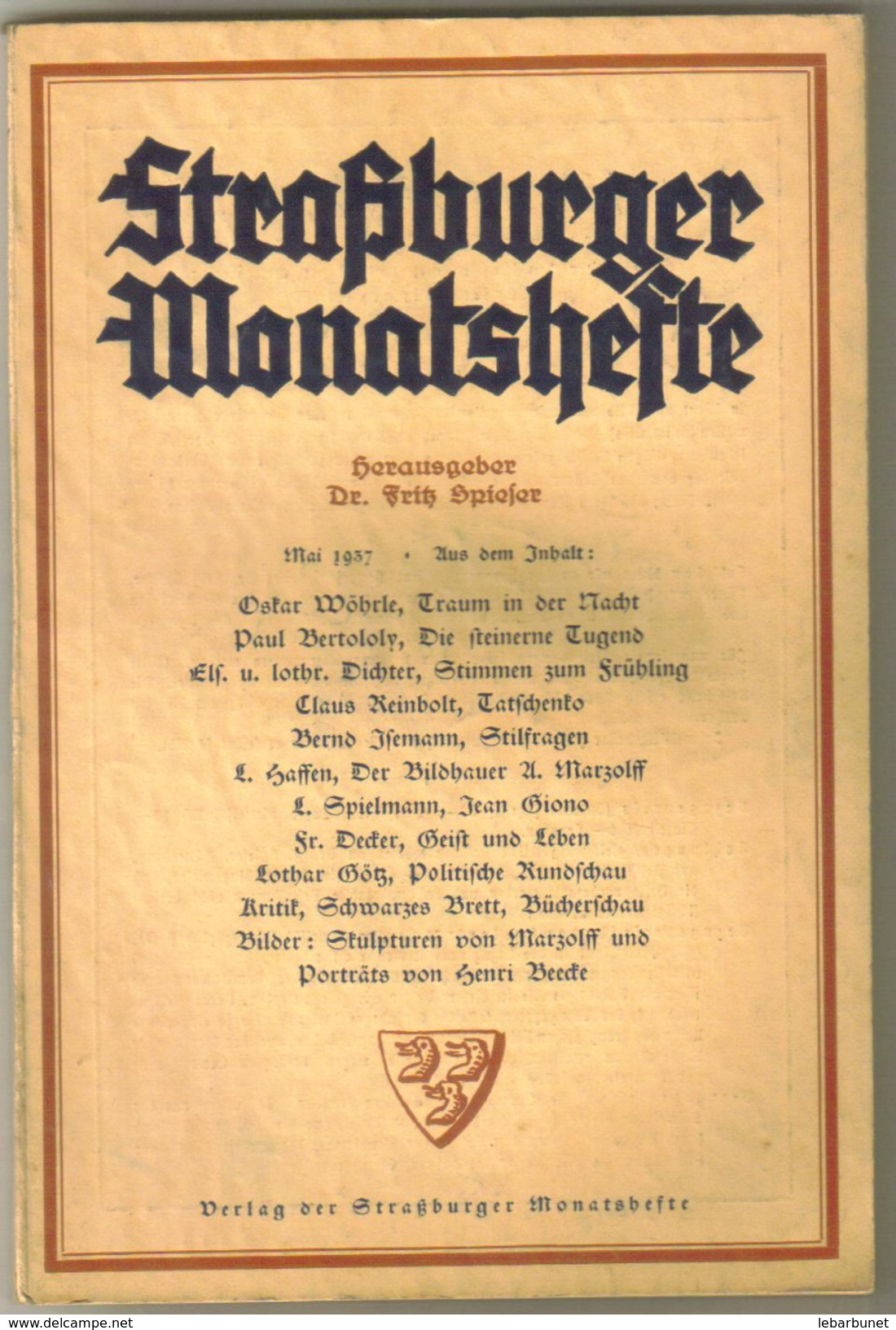 Revue Ancienne 1937 Strasburger Monatsheste Mai 1937 - Revues & Journaux