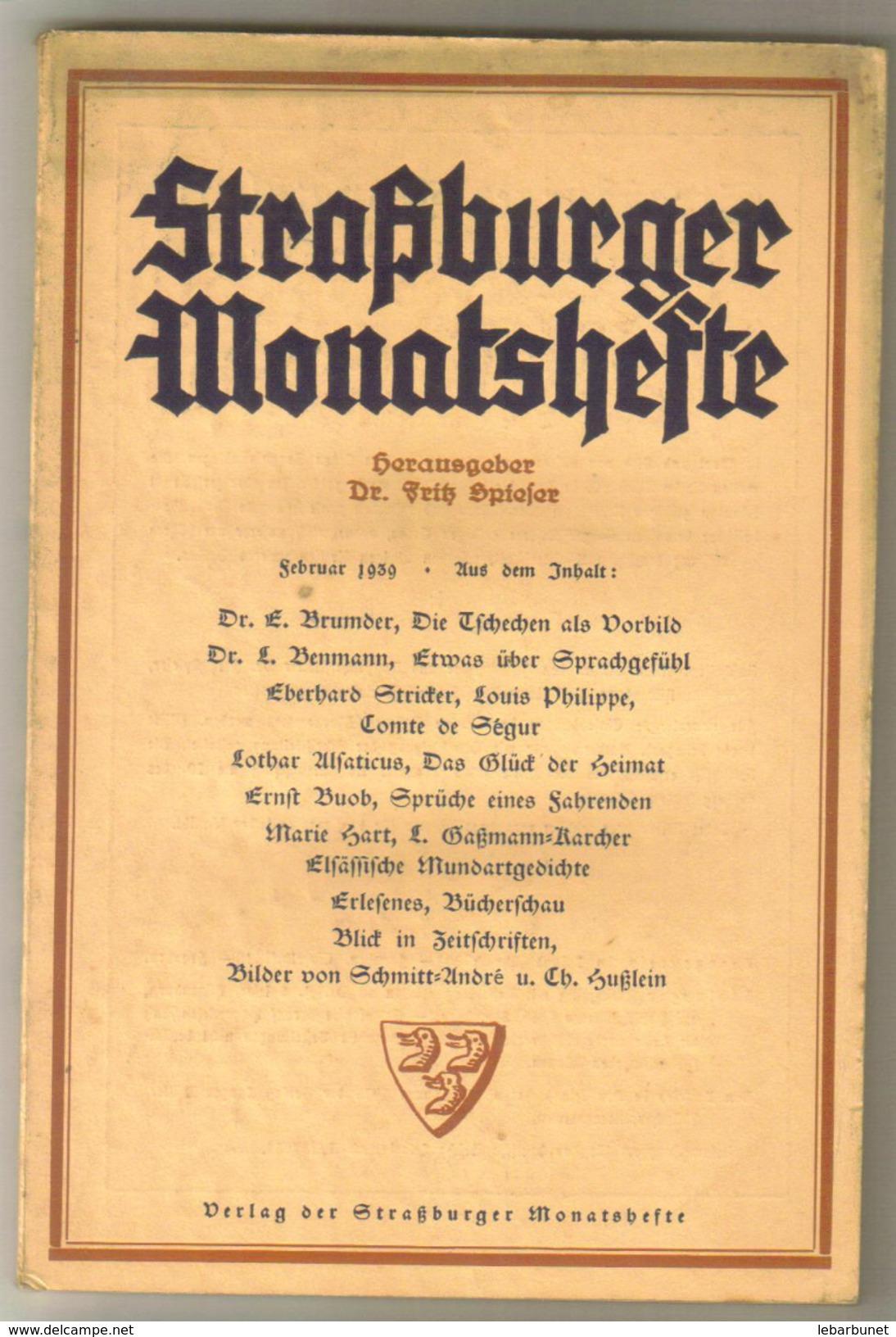 Revue Ancienne 1938 Strasburger Monatsheste  Décembre 1938 - Revues & Journaux