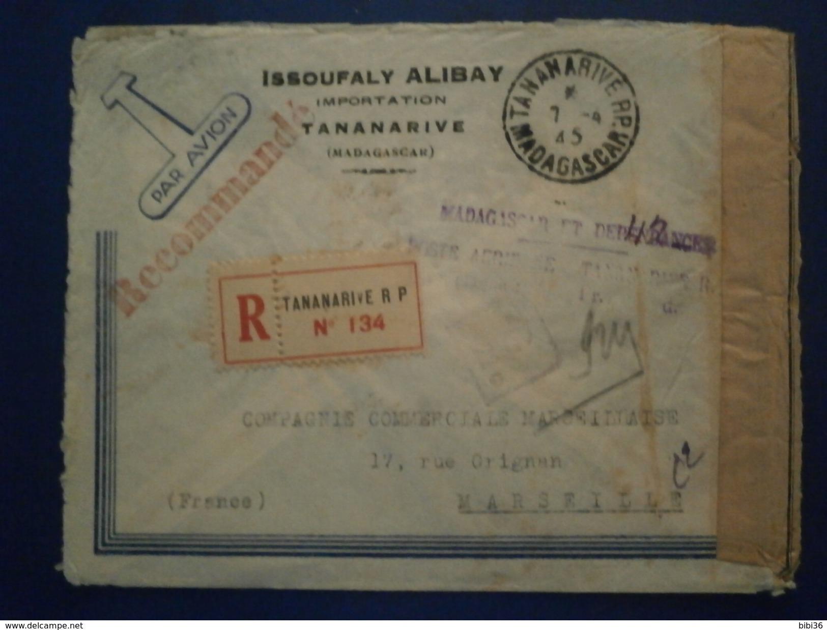 MADAGASCAR RECOMMANDEE GRIFFE POSTE AERIENNE NUMERAIRE TANAMARIVE CENSURE CACHET LETTRE ENVELOPPE ENV COVER LETTER - Madagascar (1889-1960)