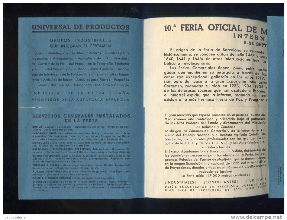 Barcelona *10ª Feria Oficial De Muestras. 1942* Desplegable. Medidas Cerrado: 118 X 167 Mms. - Programas