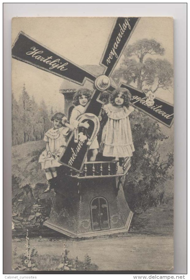 ENFANTS SUR UN MOULIN - 1908 - Moulin à Vent - Wind Mill - Animée - Gruppi Di Bambini & Famiglie