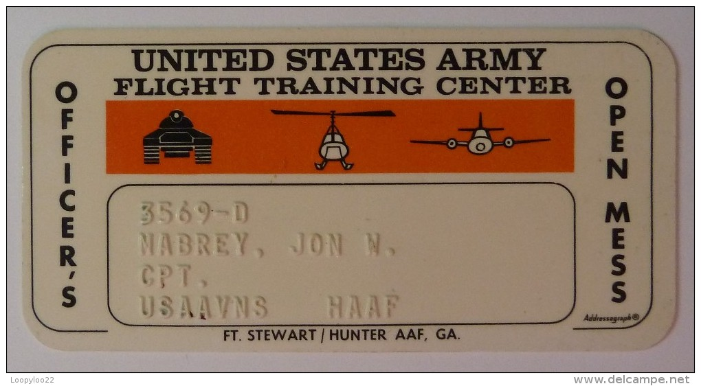 USA - Credit Card - United States Army - Military Canteen - Flight Training Center - Officer's Mess - Used - Geldkarten (Ablauf Min. 10 Jahre)