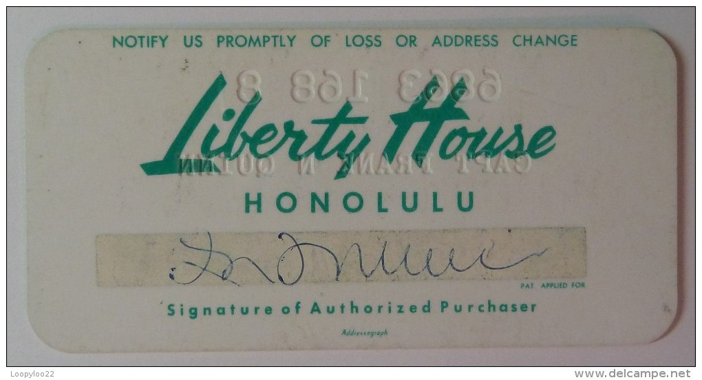 USA - Hawaii - Honolulu - Early Merchant Credit Card - Liberty House - Used - Krediet Kaarten (vervaldatum Min. 10 Jaar)
