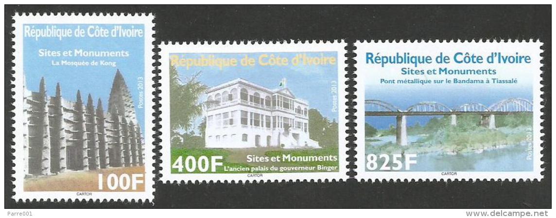 Côte D'Ivoire 2013 Monuments Kong Mosque Governor Binger Palace Tissale Bandama Bridge Set Mint MNH - Côte D'Ivoire (1960-...)