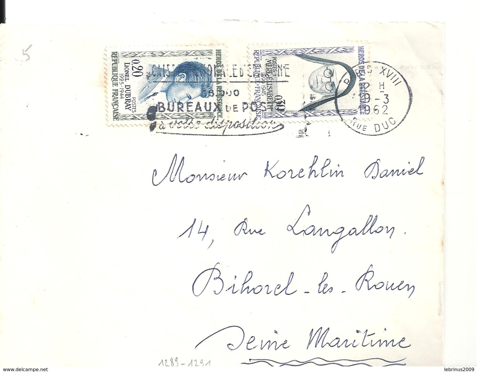 N° 1289 - 1291 - Sur Lettre De PARIS  Du 19/3/1962 - Marcophilie (Lettres)
