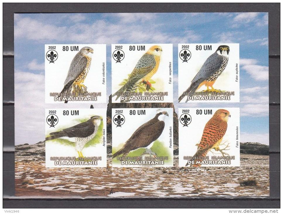 Mauritania 2002,6V In Block,IMP,birds Of Prey,birds,vogels,vögel,oiseaux,pajaros,uccelli,aves,MNH/Postfris(L2773) - Oiseaux