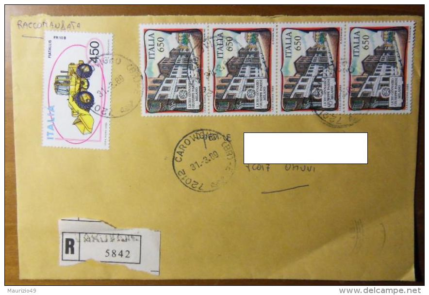 """1989 N. 1857 Scuole D'Italia- Liceo Giuseppe Parini 4x £ 650 Raccomandata Da CAROVIGNO 31-3-89 Fdc """"NATURALE"""" VEDI FOTO - 1981-90: Storia Postale"""