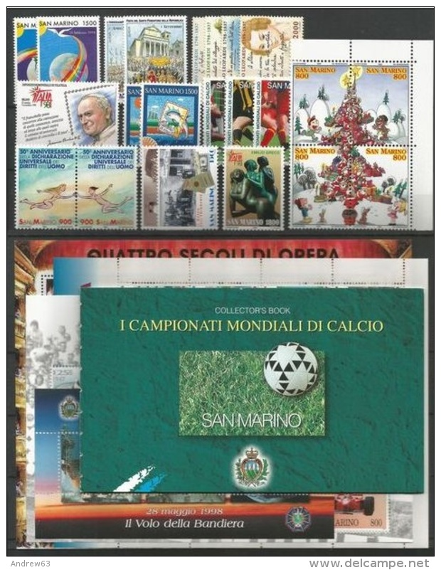 SAN MARINO - 1998 - Annata Completa - 23 Valori + 3 BF + 1 Libretto - Year Complete ** MNH/VF - Annate Complete
