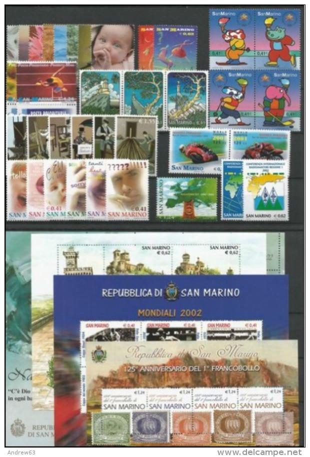 SAN MARINO - 2002 - Annata Completa - 36 Valori + 4 BF - Year Complete ** MNH/VF - Annate Complete