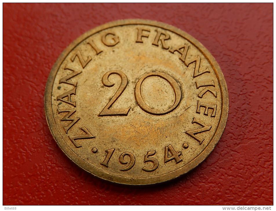 Piece De SAARLAND SARRE -  20 FRANKEN 1954 - Sarre