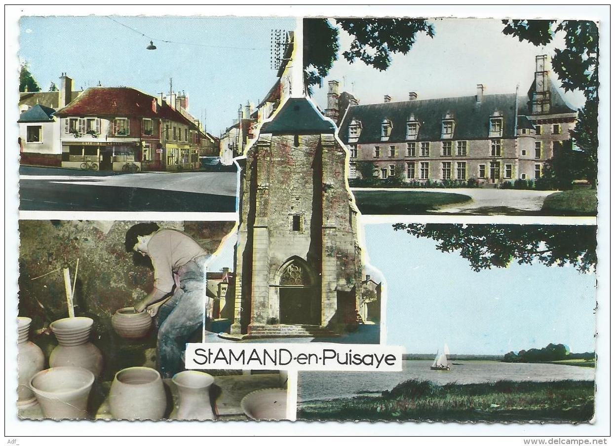 CPSM MULTIVUES COLORISEE ST SAINT AMAND EN PUISAYE, NIEVRE 58 - Saint-Amand-en-Puisaye