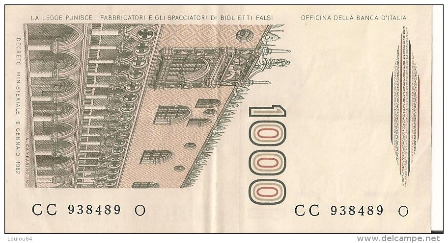 1000 Lire 1982 - Marco PAULO - N° CC 938489 O  - ITALIE - - 1000 Lire