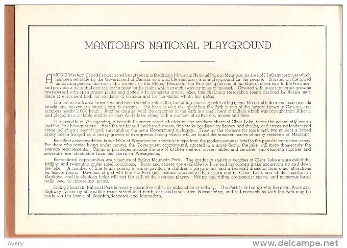 "Riding Mountain National Park, Manitoba, Canada Manitoba's National Playground 16 Views 9"" X 6""  22.5 Cm X 15 Cm - North America"