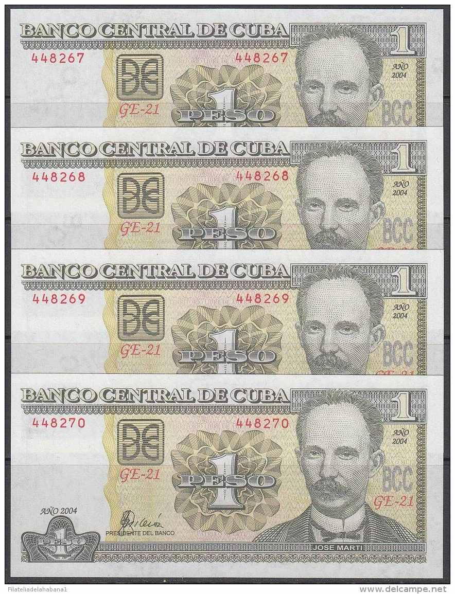 2004-BK-112 CUBA 2004. 1$. JOSE MARTI. 4 CONSECUTIVE UNC. - Cuba
