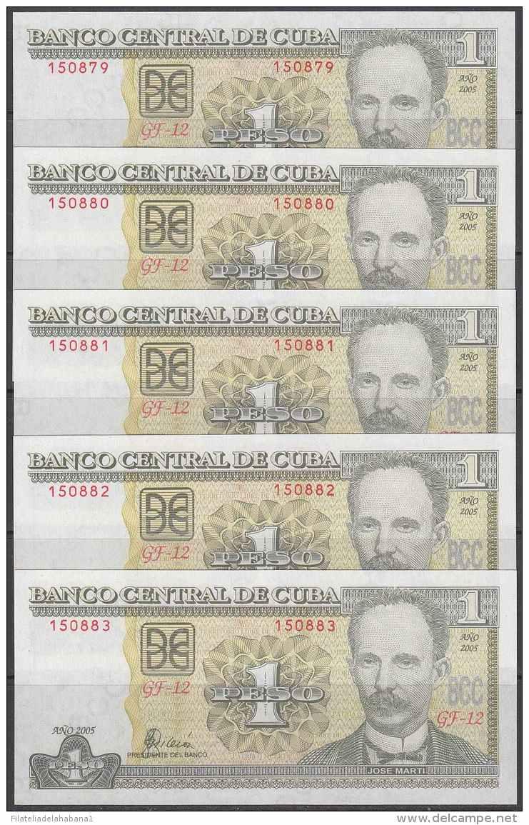 2005-BK-121 CUBA 2005. 1$. JOSE MARTI. 5 CONSECUTIVE UNC. - Cuba