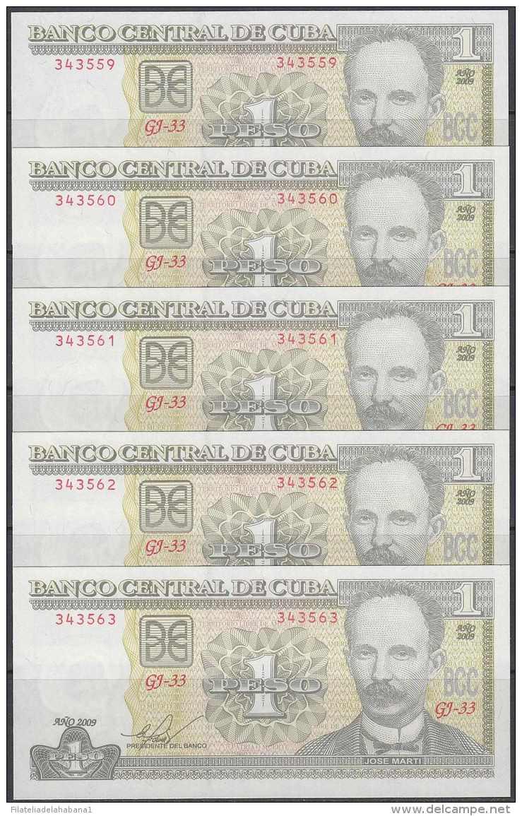 2009-BK-112 CUBA 2009. 1$. JOSE MARTI. 5 CONSECUTIVE UNC. - Cuba