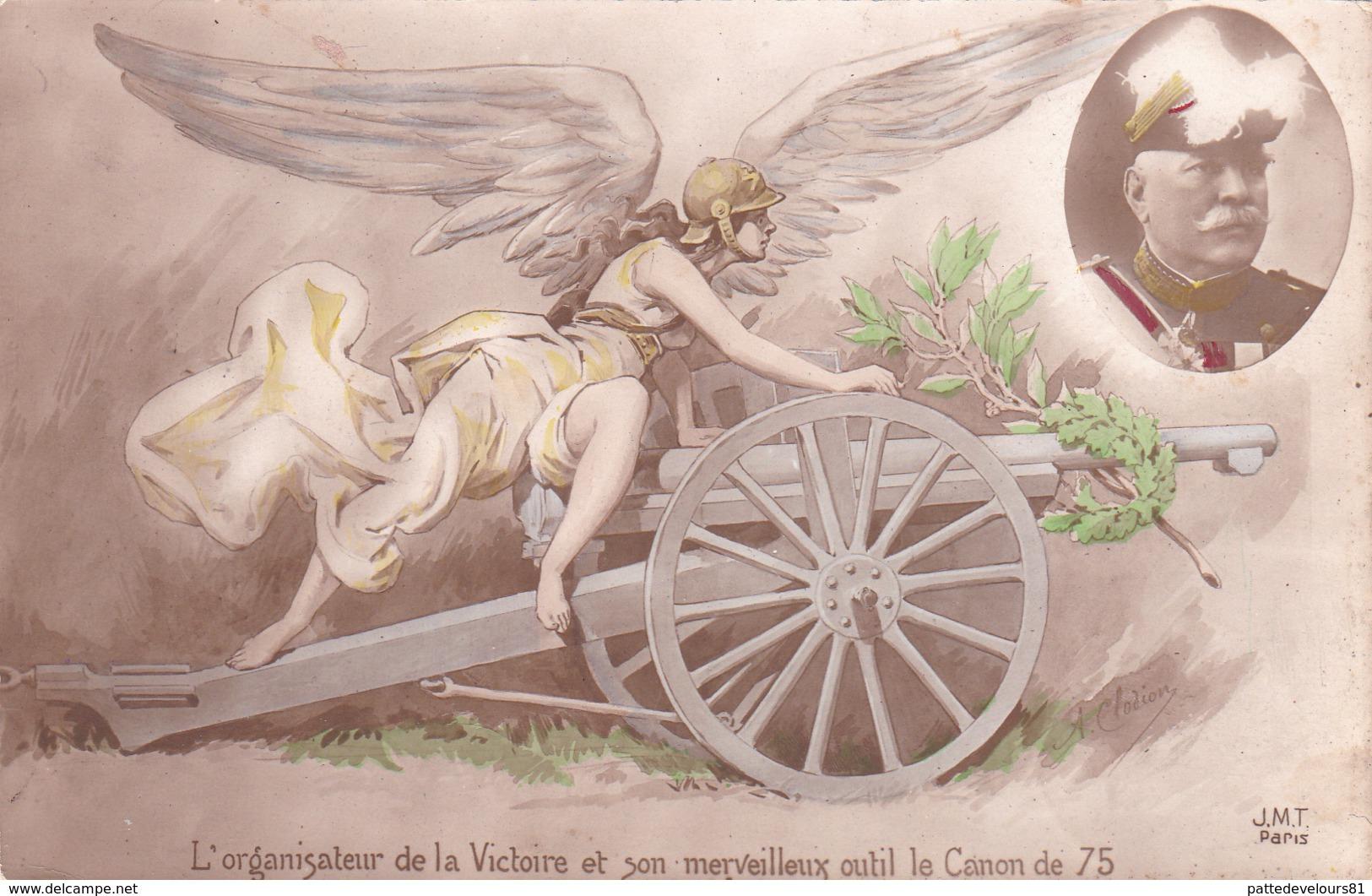 CPA L' Organisateur De La Victoire Et Son Canon De 75 Cannon Gun Militaria Militaire Soldats - Matériel