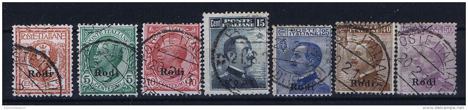 Italy: Rodi  Sa  1 - 7  Mi Nr 3 - 9 Used Obl.  1912  25 C Has A Fold - Ägäis (Rodi)