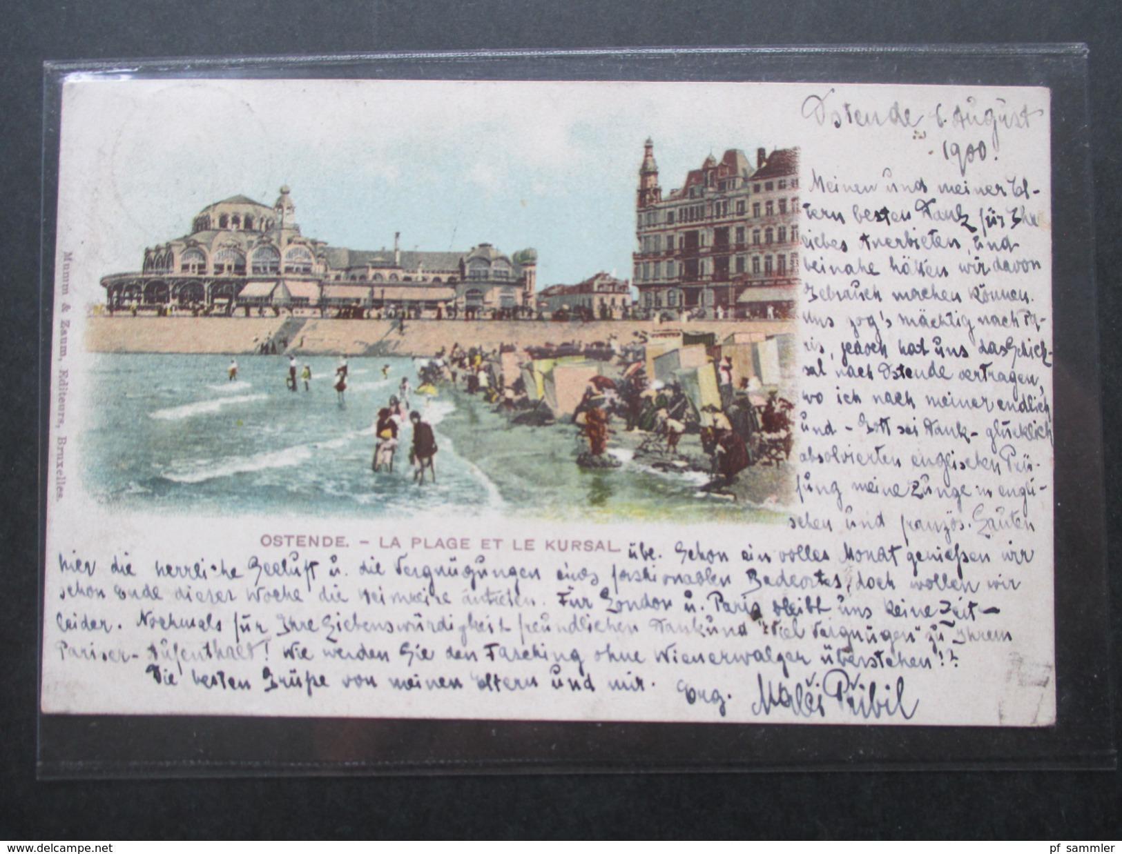 AK Belgien 1900 Ostende La Plage Et Le Kursal. Nach Paris Mit Ankunftstempel. Schöne Karte! - Oostende