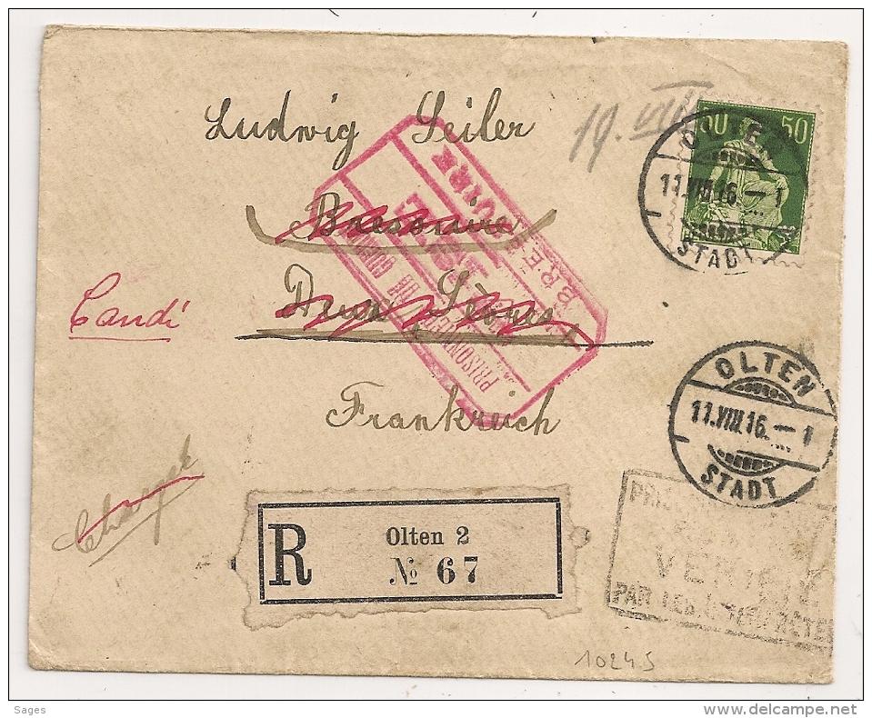 RARE Recommandé SUISSE OLTEN Pour PRISONNIER DE GUERRE BRESSUIRE Deux Sèvres Puis Candé Maine Et Loire. - Marcophilie (Lettres)